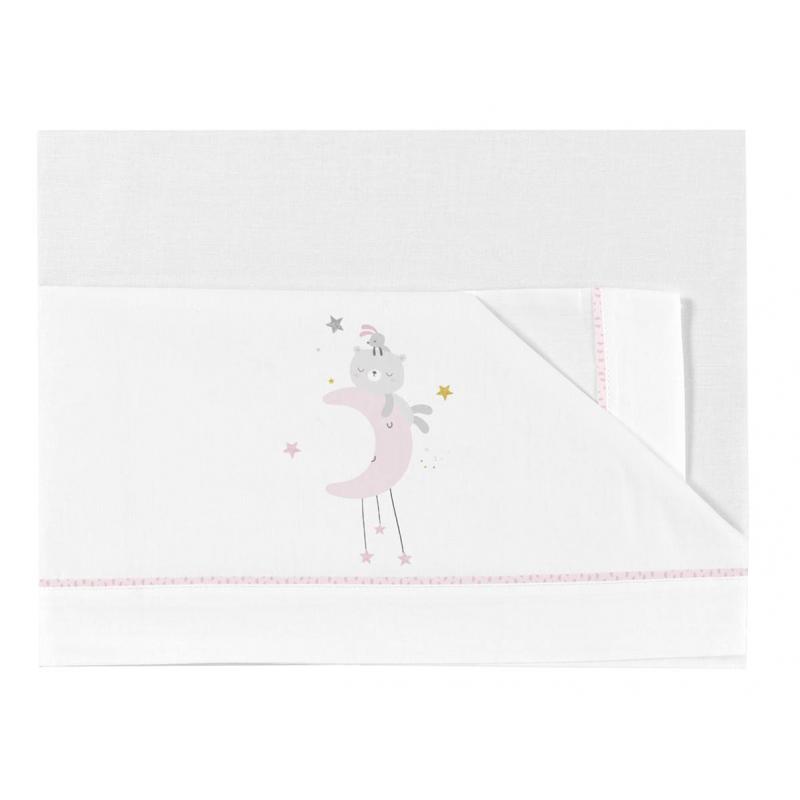 Bimbidreams sábanas cuna tríptico Dulces Sueño blaco-rosas