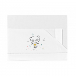 Bimbidreams sábanas cuna tríptico Panda blanco-gris