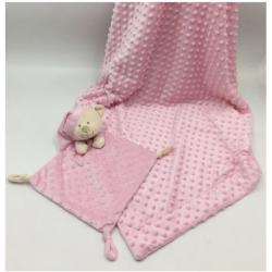 Duffi Baby Osito dou dou + Manta Luxe rosa
